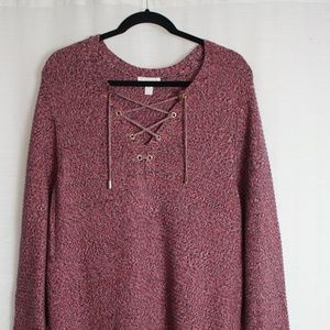 Charter Club Heather Pink Lace Front Tunic Sweater